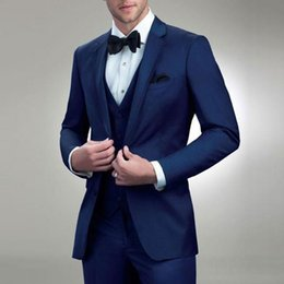 Bridal Suits Australia - Navy Blue Man Suit for Wedding Groom Notched Lapel Slim Fit Three Piece Men Suits Bridal Tuxedos Jacket Pants Vest Men Blazer
