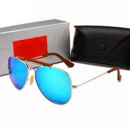 Box Brand Glasses NZ - 3422 New Classic Glass Lens Sunglasses Women Brand Designer Mirror pilot Sunglass Star Style Protection Sun Glasses UV400 WITH LOGO AND BOX