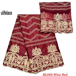 Net fabric for dresses online shopping - Wine Red African lace Bazin riche getzner fabric Embroidery High quality Class Design French Net lace for Nigerian dress BL