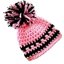 Baby Elf Crochet Australia - Cute Baby Elf Hat,Handmade Crochet Baby Boy Girl Pompom Beanie,Baby Shower Gift,Pink Black Hat,Newborn Photo Prop
