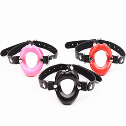 bdsm mouth gear UK - BDSM Fetish Open Mouth Gag Bite Ring Gags with Strap Oral Torture Bondage Gear Adult Sex Toys for Lady Red Pink Black GN222000070