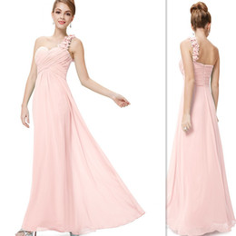 China 2019 Light Pink Bridesmaid Dresses One Shoulder A-line Chiffon Long Floor Length Simple Cheap Maid Of Honor Wedding Party Gowns Custom Made suppliers