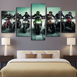 Discount motorcycle painting art - 5 Panels Canvas Wall Art Colourful Heavy Motorcycle Racer Paintings Poster Print on Canvas Oil Painting Pictures Wall Ar