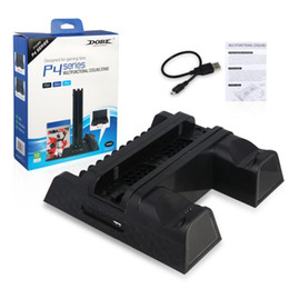 vertical stand for ps4 Australia - DOBE PS4 PS4 Slim PS4 PRO Vertical Stand with Cooling Fan Cooler Dual Controller Charger Charging Station for SONY Playstation 4 DHL Free