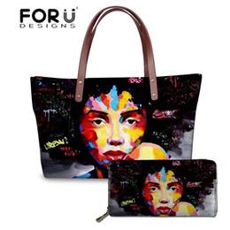 Hand Bag Printed Australia - FORUDESIGNS Purse&Handbags Women Black Art African Girls Printing Top-Handle Bags Ladies 2pcs set Hand Tote Bag Feminine Bolsa