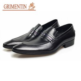 grimentin shoes UK - GRIMENTIN loafers men formal shoes leather luxury handmade designer slip on business wedding shoes for 2020 newest black brown male shoes