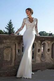 Wholesale 2020 Berta New Modest Long Sleeves Sheath Wedding Dresses V Neck Lace Appliques Slim Illusion Spring Summer Bridal Gowns Vestidos De Noiva