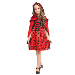 little red riding hood movie costume Canada - HUIHONSHE New Christmas Carnival Red Dress Halloween Costume For Kids Princess Little Red Riding Hood Cape Cosplay Child Girls