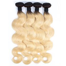 Russian viRgin Remy haiR extensions online shopping - KISSHAIR Bundles T1B613 Dark Root Blonde Extensions Virgin Hair Body Wave Two Tone Ombre Peruvian Brazilian Indian Remy Human Hair Weave