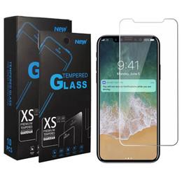 Para iphone xs max xr x 8 plus 7 6 s 5 s j3 alcançar j7 refinar e5 mais g6 jogar Stylo 4 J2 Núcleo 1X Limpar Vidro Temperado Protetor de Tela + pacote em Promoção