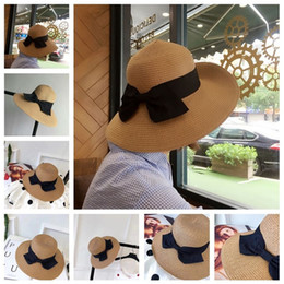 Sun hat princeSSeS online shopping - Parents and children straw hat summer sun protection Beach Hat bow lovely princess eaves hat tide T3H5014