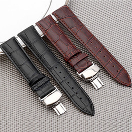 watch bracelet size UK - Genuine Leather Watchband With Butterfly Clasp Bands Croco Grain Bracelet for Pulseira Watch sized in16 18 19 20 21 22 mm