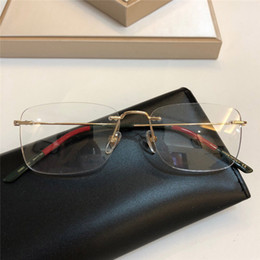 Discount designer eyewear cases - New Fashion Luxury Designer Optical Glasses 0399O Square Frameless glasses Trend Simple Style Eyewear Top Quality Come w