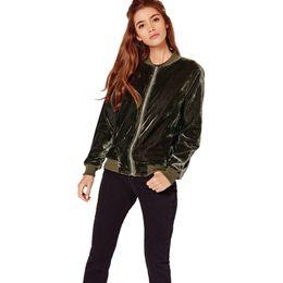 $enCountryForm.capitalKeyWord UK - European style long sleeve solid slim velvet female coat street wear spring and autumn zipper woman jacket