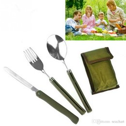 Knife Set For Camping Australia - Wholesale Portable Mini Tableware Set outdoor Tool Folding Cutlery Set with Spoon Fork Knives for Camping Picnic Stainless Steel Talher FT04