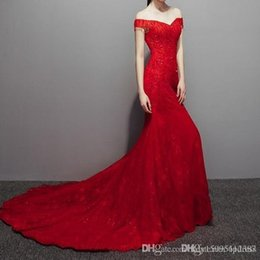 $enCountryForm.capitalKeyWord Australia - 2019 Sexy Red Evening Dresses Mermaid Court Train Bridal Gowns Lace with Shining Sequins Lace-up Back Long Runway Gowns 245