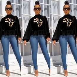Wholesale hot peplum tops for sale – plus size Womens Lantern Sleeve Turtleneck Tshirt Fashion Waist Hot Stamping Loose Top Famale Designer Casual Clothing