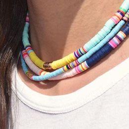 Handmade clay bead necklace online shopping - Ethnic Beads Choker Necklace Women Handmade Beach Polymer Clay Chocker Necklace Jewellery Gift