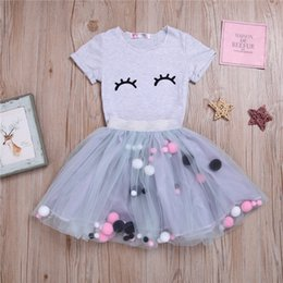 $enCountryForm.capitalKeyWord Australia - Summer Girl kids clothes Set Closed-Eye Printed Round collar short sleeve Tops+tutu skirt 2 pieces sets kids designer clothes girls JY557