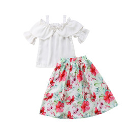 beautiful baby girl party dress Canada - Popular Fashion Sweet Pretty Beautiful Print Chiffon Kids Baby Girl Off Shoulder Tops Floral Party Dress Outfits 2 To 7 Years