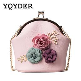 $enCountryForm.capitalKeyWord Australia - Women Bags Flowers Chain Small Handbag Pearl Luxury Designer PU Leather Shoulder Bags Metal Frame Messenger Lady Crossbody Sac