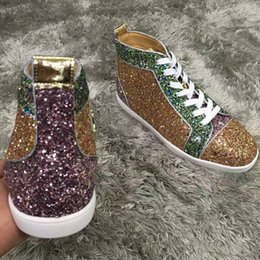 $enCountryForm.capitalKeyWord Canada - Fashion Designer Women,Men High Top Louisflats Glitter Leather Red Bottom Sneakers Shoes Elegace Party Wedding Dress