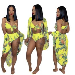 Three Piece Suit Bow Australia - Top Quality Women Summer Leaf Floral Print Beach X-Long Cloak Bow Bra Panties Suits Three Piece Beach Suit Outfit Tracksuit Yellow