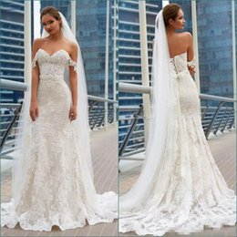 $enCountryForm.capitalKeyWord Australia - Modest Lace Mermaid Wedding Dresses 2018 Off The Shoulder Applique Beach Wedding Dress Corset Plus Size Bridal Gowns Custom Made