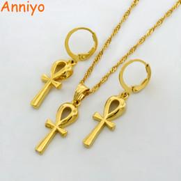 Egypt Pendants Australia - Anniyo Wholesale Ankh Pendant Chain Earrings Gold Color Egyptian Cross Jewelry Women Egypt Hieroglyphs,Crux Ansata #054902