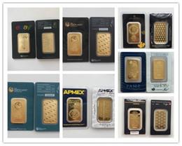 Ingrosso Replica di alta qualità - Oro placcato oro 24k Perth MintArgor HereausRCMAPMEX Gold Bar, lingotti d'oro da 1 Oz, regali di compleanno / festività, collezione