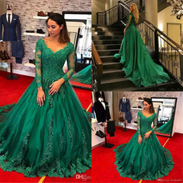 lace beaded emerald green prom dress 2019 - Sexy Emerald Green ball gown prom dresses elegant v neck lace sheer sleeves puffy formal evening gowns court train quinc
