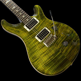 Custom 24 Library 10 Top Jade Green Burst Electric Guitar Flame Maple Top Signature Smith 24 frets China Made Guitars on Sale
