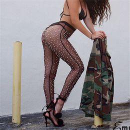 Wholesale womens mesh swimwear for sale – plus size Womens Beach Mesh Sheer Pants Lady Bikini Cover Up Flared Trousers Pearl Mesh Sheer Pants Transparent Trousers Swimwear Cover Up