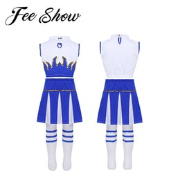 Women Costume Cheerleader UK - Kids Girls Cheerleader Costume Outfit Sleeveless Crop Top with Skirt and Socks Dancewear Set for Carnival Cosplay Party Dress Up