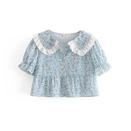 fa6e5dcd931 Peter pan collar floral print crop tops women summer streetwear lace  patchwork shirts lady short tops woman fashion beach blouse