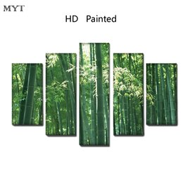 $enCountryForm.capitalKeyWord Australia - Green bamboo under sunlight scenery High Quality HD Printed 5 Pieces big size Canvas Wall Art pictures for living room Home Decor no framed