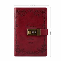 Diary Leather Australia - Diary With Lock Vintage Leather Journal Lock Diary Travelers Diary Lined Paper and Blank Paper Notebooks Sketchbookschool office supplies