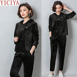 Women Velvet Clothes Australia - YICIYA Black tracksuits for women outfits velvet two piece set plus size large big hooded pant suits and top co-ord set clothing