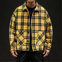 Wholesale XIU LUO 2019 Winter Men's Yellow Black Plaid Jackets Woolen Outwear Japanese Streetwear Man Casual Slim Coats Large size 5XL
