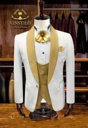 Tuxedo Gold Burgundy Australia - White Groom Tuxedos Gold Shawl Lapel Groomsmen Mens Wedding Dress Excellent Man Jacket Blazer 3 Piece Suit(Jacket+Pants+Vest+Tie) 1676