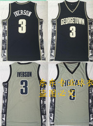 Yellow Basketball Uniforms Australia - NCAA Mens Georgetown Hoyas Iverson College Jersey 3 Iverson 33 ewing University Basketball uniform grey dark blue bethel Quick delivery