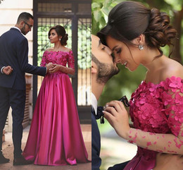 Hot Pink Red Carpet Dresses Australia - 2019 Romantic Hot Pink 3D Floral Flowers Evening Formal Dresses Off shoulders with Sleeves A line Prom pageant Red Carpet Dress Long Cheap