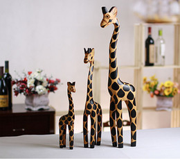 Discount giraffe home decorations - 3pcs bag Wood Carving Handicraft Creative Home Furnishing Articles Giraffe Wooden Giraffe Furnishing Articles Decoration