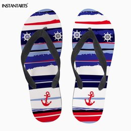 Wholesale INSTANTARTS Fashion Men Flip Flops Summer Beach Style Cute Print Sailboat Casual Slippers Brand Design Light Man Shoe Zapatillas