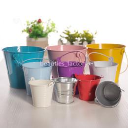 Wedding Favour Decor Australia - Cute Mini Tin Metal Pails Bucket Wedding Candy Favors Birthday Favour Party Decor Multi colors 3 Size for choose