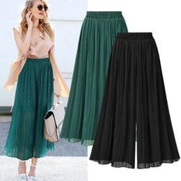 loose trousers chiffon women Australia - casual loose chiffon pants European style extra pluse size high elastic waist slim women summer wide leg pants trousers