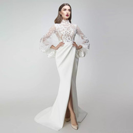 modern evening dresses sleeves Australia - Elegant Mermaid Evening Dresses High Neck Puff Long Sleeves Lace Satin Front Split Formal Prom Dresses Saudi Arabic Gowns Floor Length