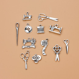 Charm braCelets sCissors online shopping - DIY Jewelry Sewing Scissors Charm Pendant For Bracelet Necklace Accessories Tibetan Silver Alloy Mixed Charms Woman Housewife Hot Crafts