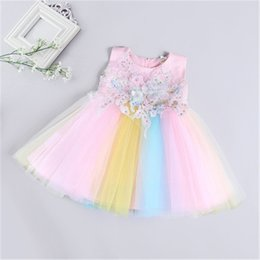 $enCountryForm.capitalKeyWord Australia - Baby Girl Rainbow Dresses Sleeveless applique Kids party clothing Toddler Fancy Frocks Girl Rainbow Dresses Baby Birthday Gowns