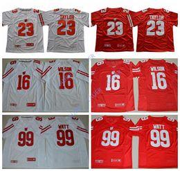 073ec7ede7e Men's WISCONSIN BADGERS #16 Russell Wilson #23 Jonathan Taylor #99 J.J Watt  JJ Stitched Name&Number American College Football Jerseys
